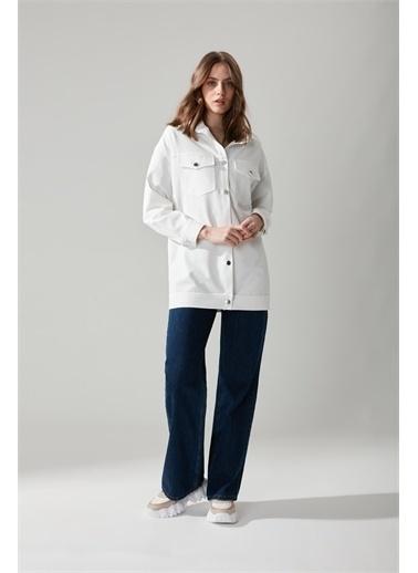 Mizalle Düğmeli Gömlek Beyaz Ceket Beyaz